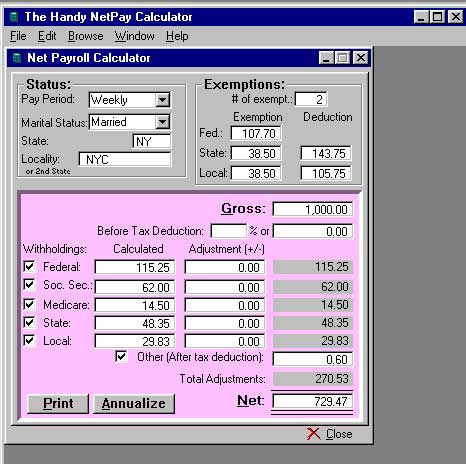 W   Filer Software  Net Pr Calculator